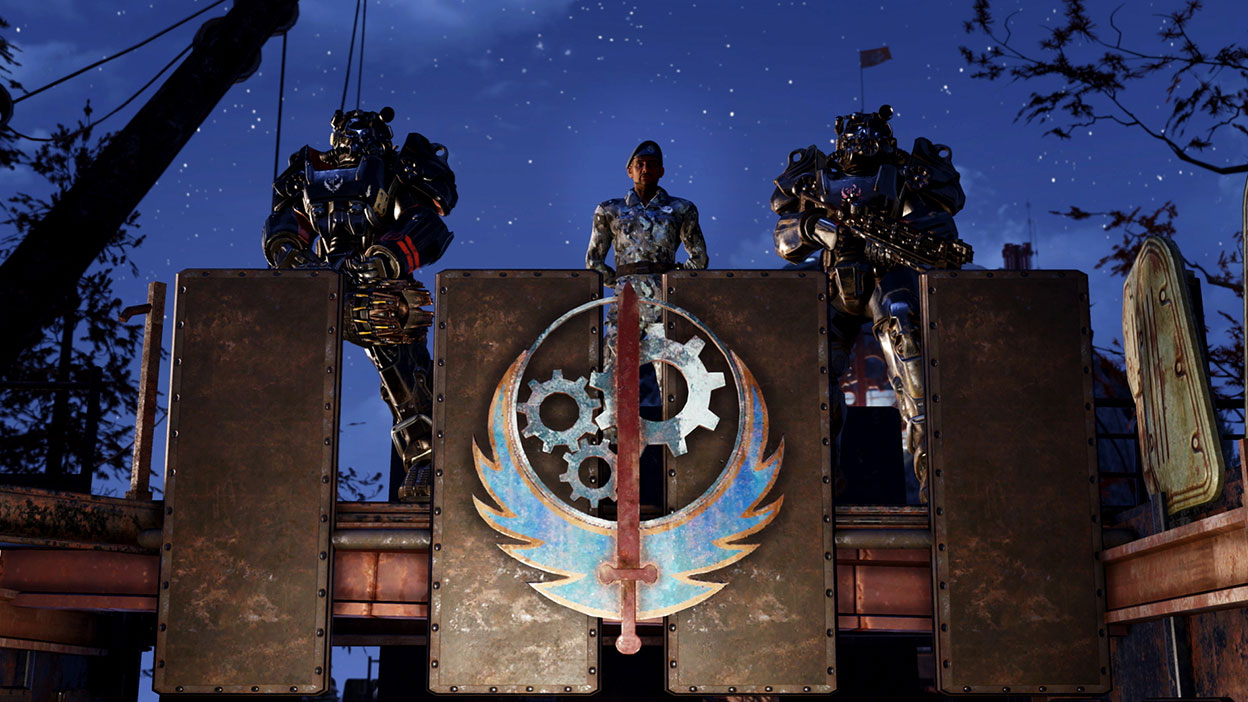 A leader of Steel Dawn stands on a balcony with characters in Power Armour on both sides