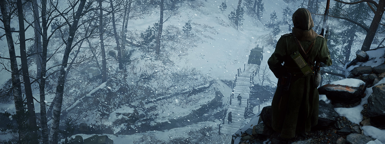Back view of a sniper overlooking soldiers cross bridge in Lupkow Pass