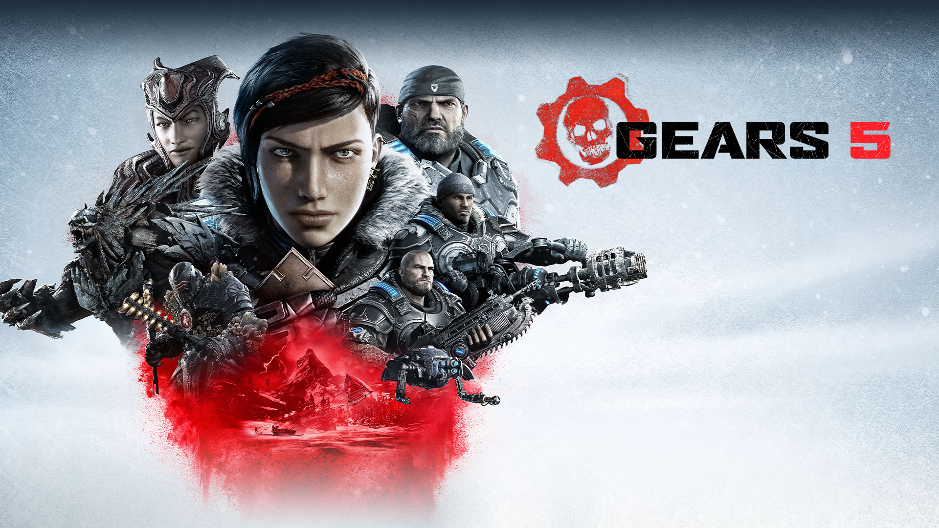 Gears 5, Collage of Gears main characters with enemies above an image of Kait riding a skiff