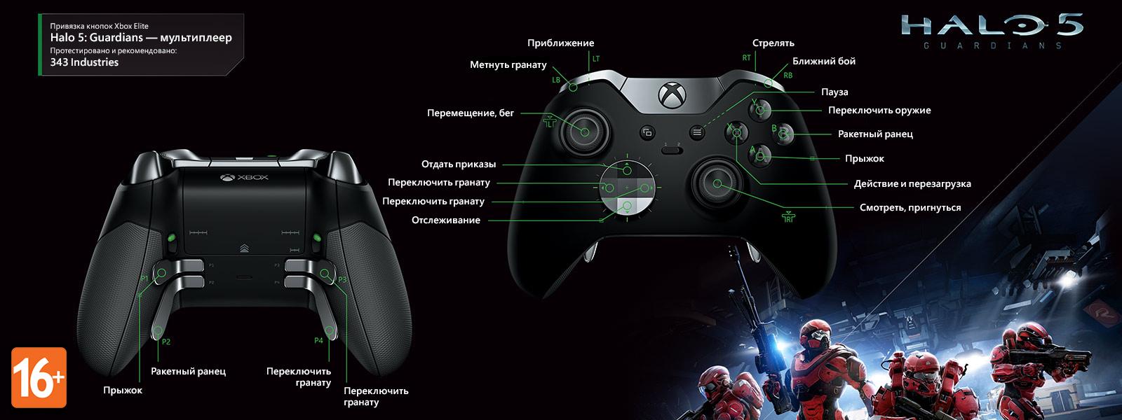 Halo 5: Guardians — раскладка для мультиплеера под геймпад Elite