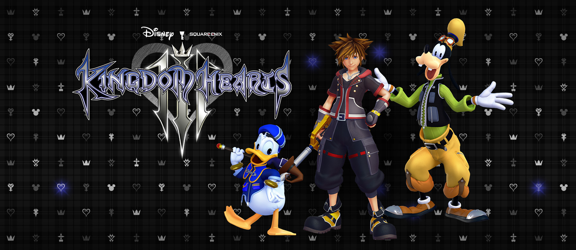 Kingdom Hearts III, Front view of Sora, Donald, and Goofy in front of a background full of hearts and mickey mouse logos
