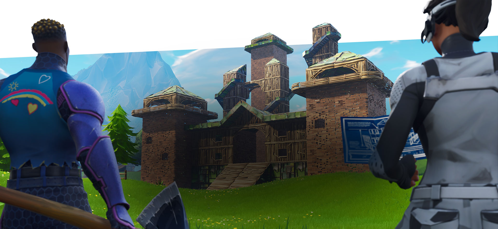 Get your battle on, 2 Fortnite characters reviewing blue prints of their new fort