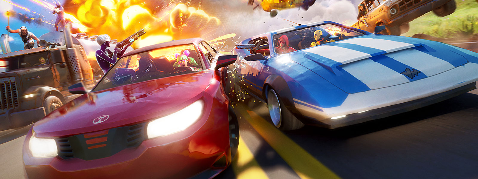 Fortnite characters drive side by side in race cars, against an explosion in the background.