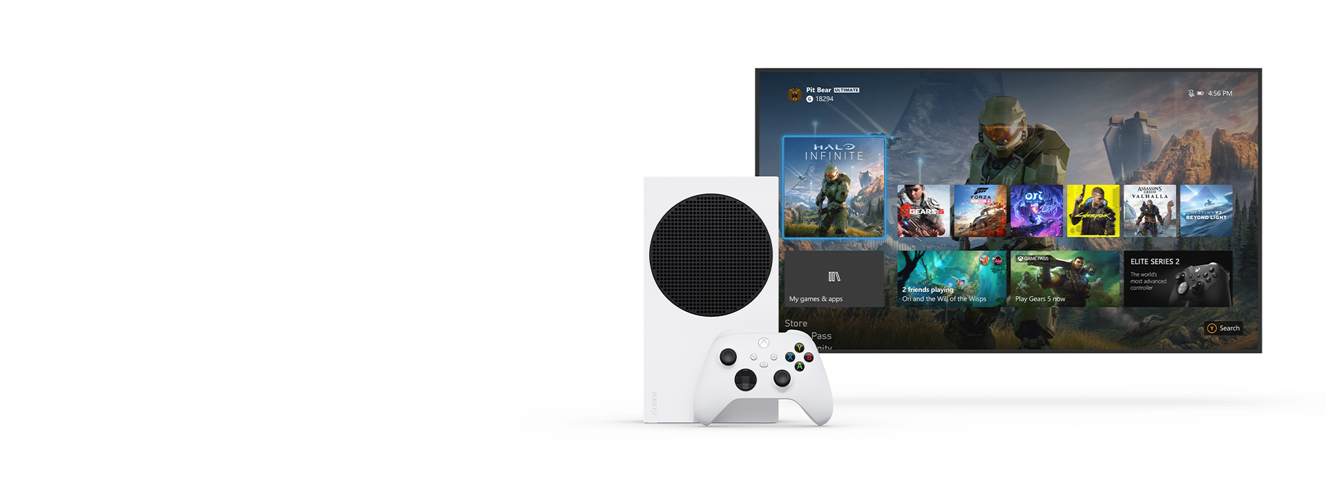 Xbox Series S sits next to a TV showing the new Xbox dashboard.