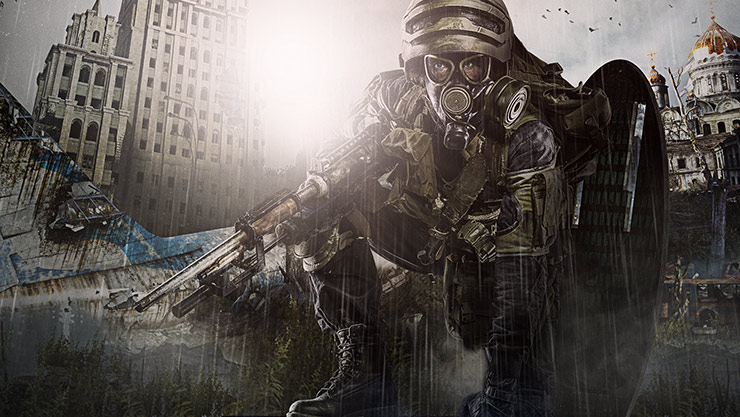 En tungt udrustet mand med gasmaske sidder på knæ foran en postapokalyptisk by