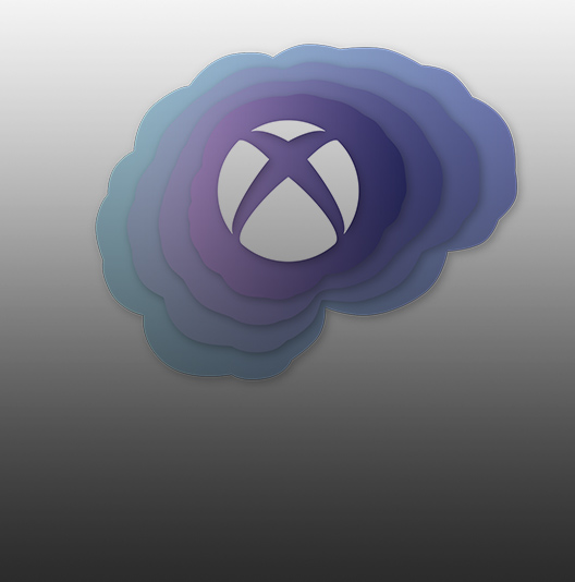 Xbox logo surrounded by shades of blues and purples.
