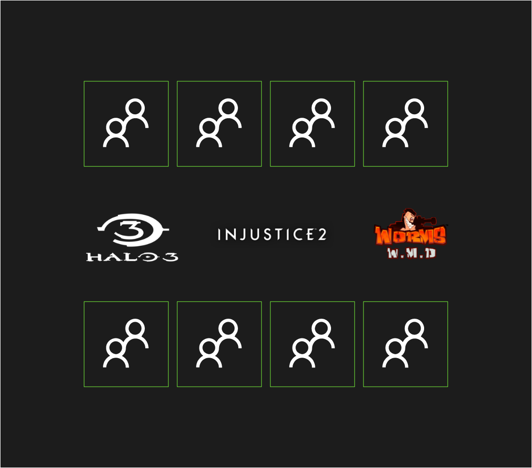 8 blocks representing the duo finalists, above and below logos from Halo 3, Injustice 2, and Worms W.M.D.