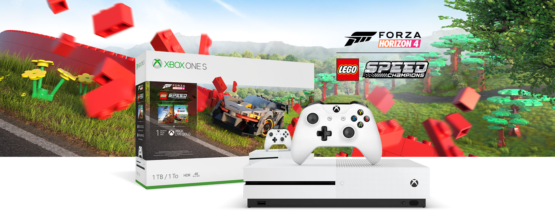 Xbox One S console in front of a hardware bundle box featuring LEGO® Speed Champions add-on art