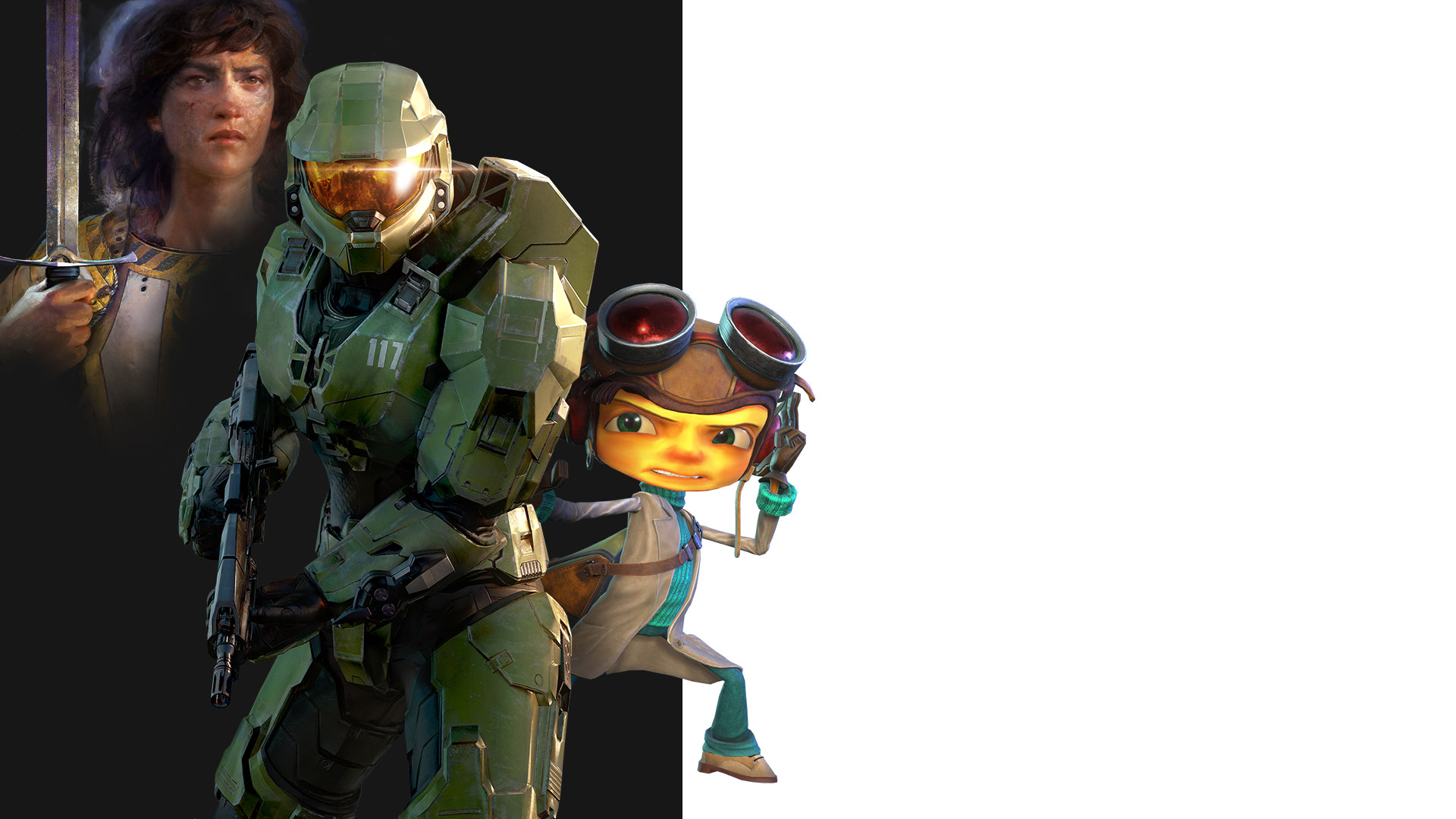 A collage of characters from Age of Empires IV, Halo Infinite and Psychonauts 2