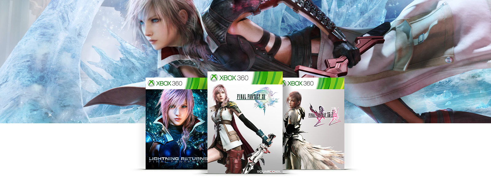 Doosafbeeldingen voor FINAL FANTASY XIII, FINAL FANTASY XIII-2, en LIGHTNING RETURNS FINAL FANTASY getoond over het personage Lightning