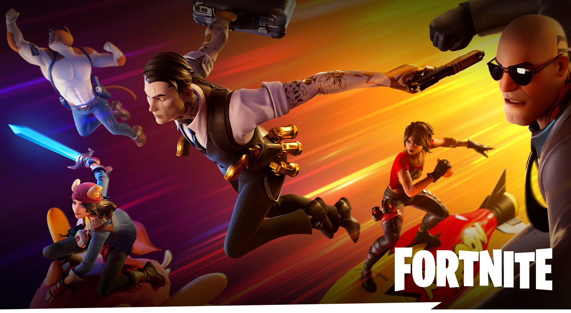 Fortnite, a cast of characters fly through the air ready for battle.