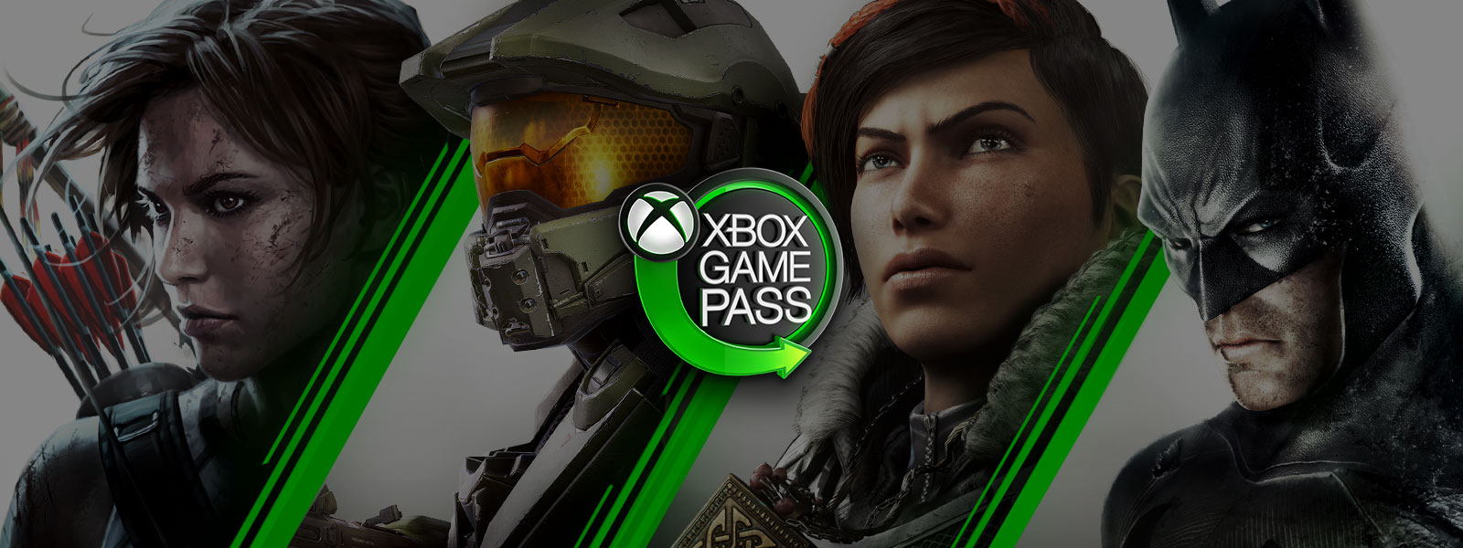 Xbox Game Pass neon sign with Xbox nexus logo and green arrow surrounded by Lara Croft, Master Chief, Kait Diaz, and Batman.