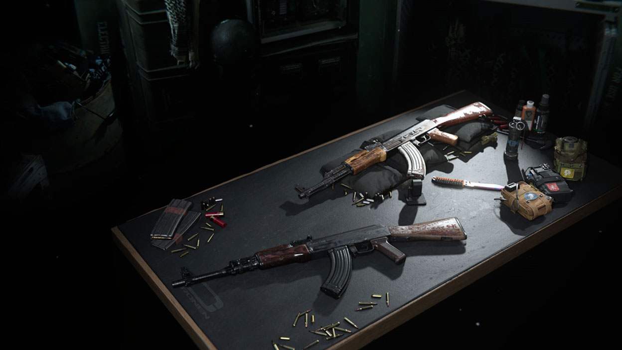 A weapons table with two guns