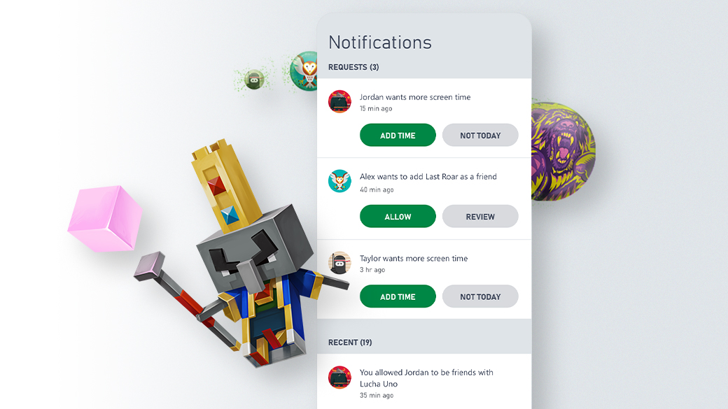 Capture d'écran de l'interface utilisateur de l'application Xbox Family Settings pour les notifications de demandes.