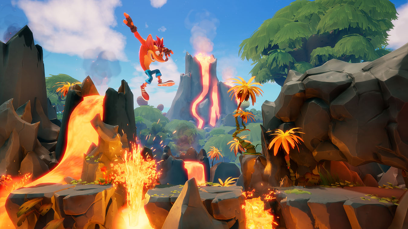 update main gallery with image: Crash jumps over lava obstacles in Crash Bandicoot 4.