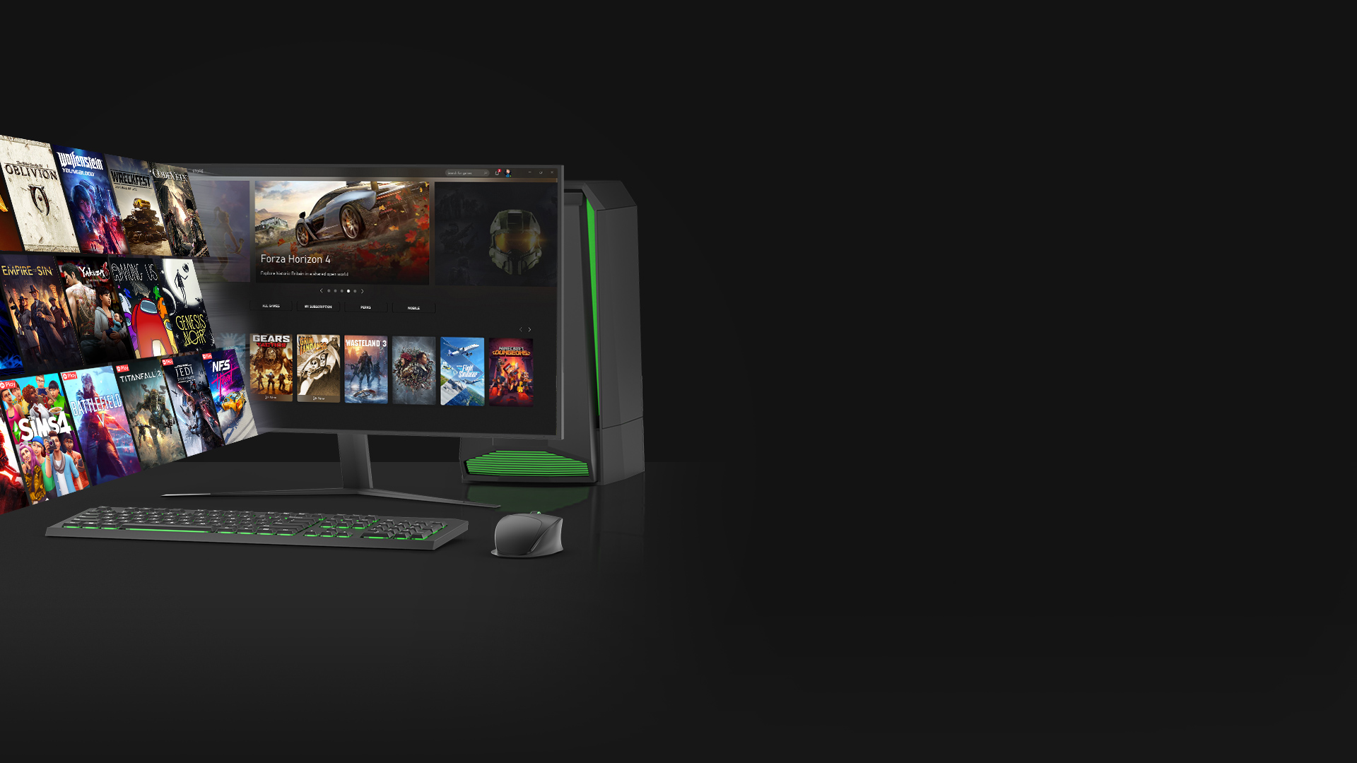 A gallery of PC games emerges from a PC monitor showing the Xbox App for Windows 10.