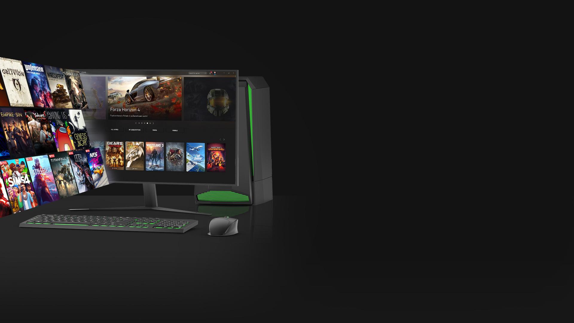 Een galerij van pc-games komt tevoorschijn uit een pc-monitor waarop de Xbox-app voor Windows 10 te zien is.
