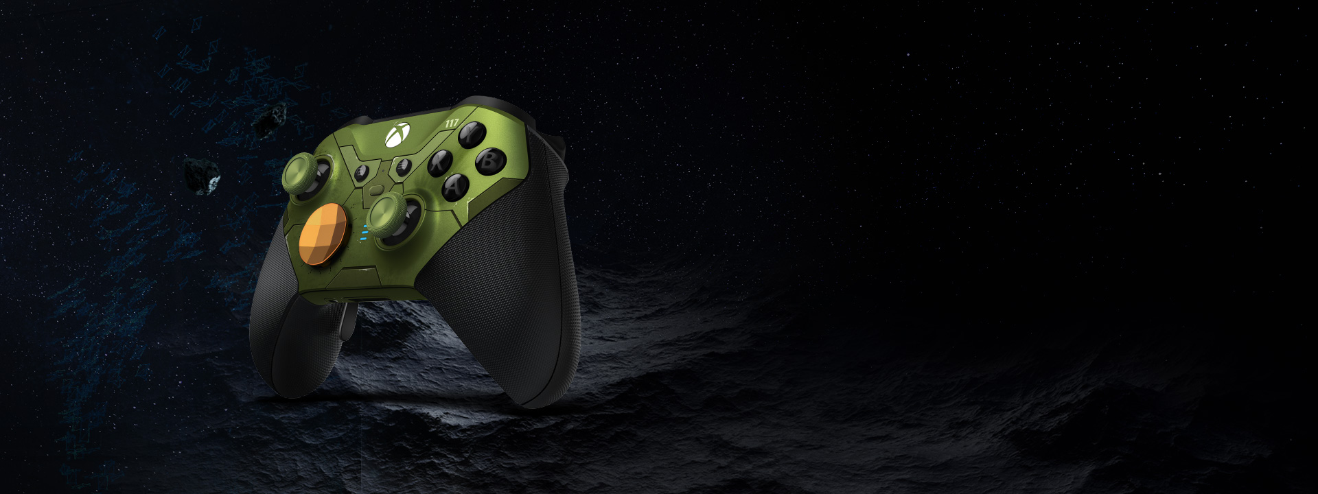 Angle de droite de la manette sans fil Xbox Elite Series 2 Halo Infinite édition limitée flottant dans l'espace