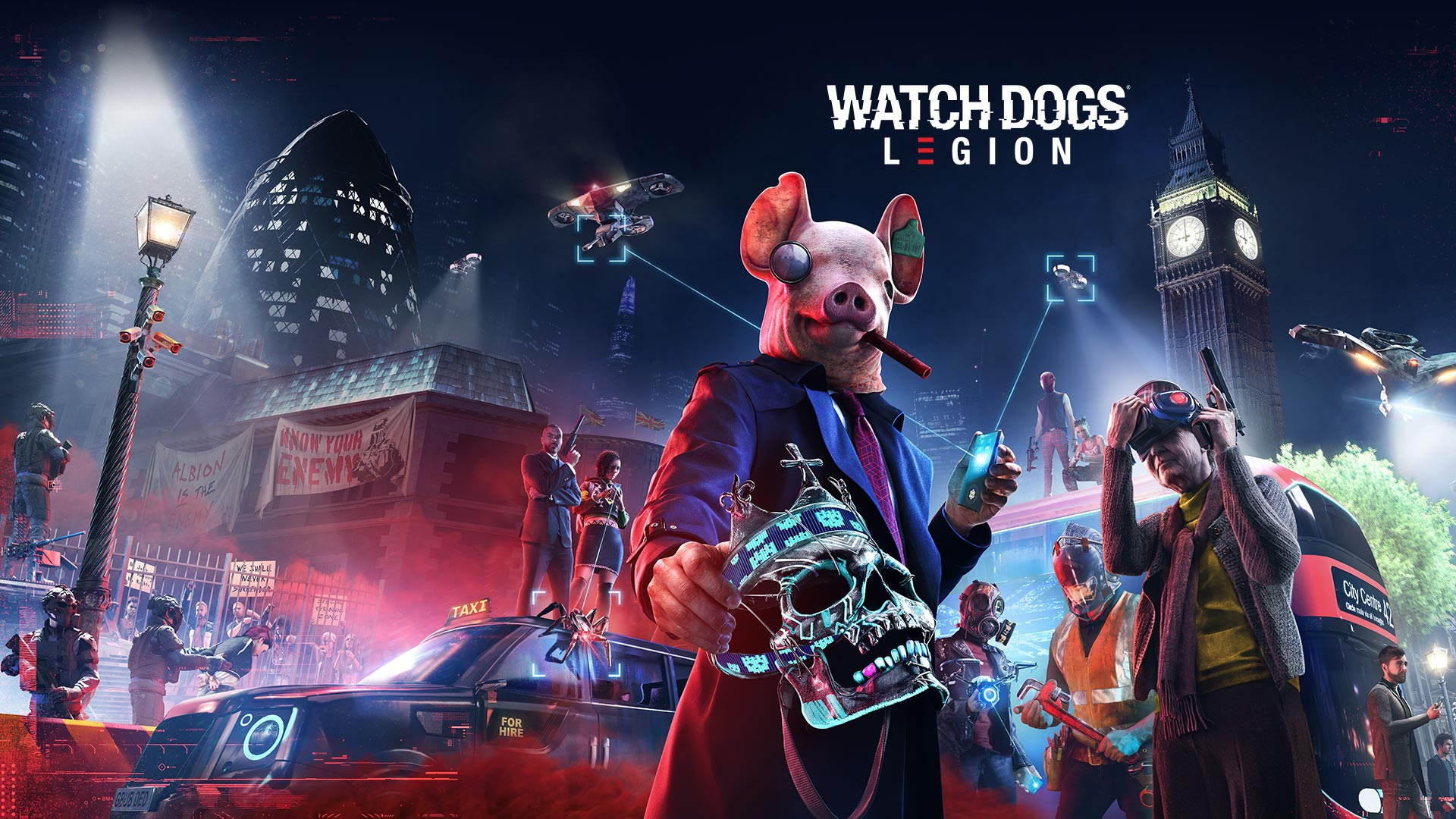 Watch Dogs Legion logo, person in a pig mask holding a skull, two drones, Big Ben and several other characters with weapons