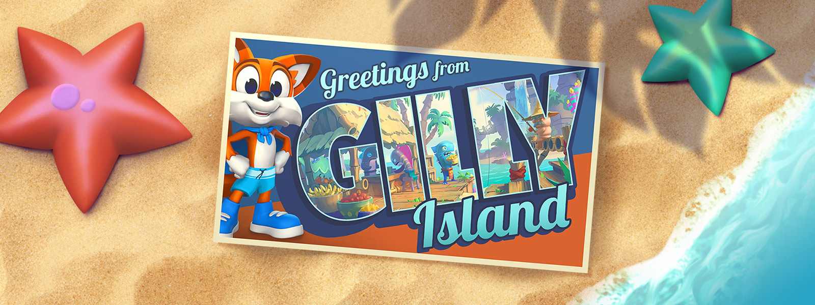 Lucky on a postcard with the words: Greetings from Gilly Island