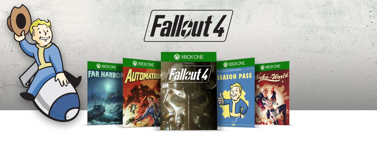 Fallout 4 logo above Far Harbor, Automatron, Fallout 4, Season Pass and Nuka World boxshots