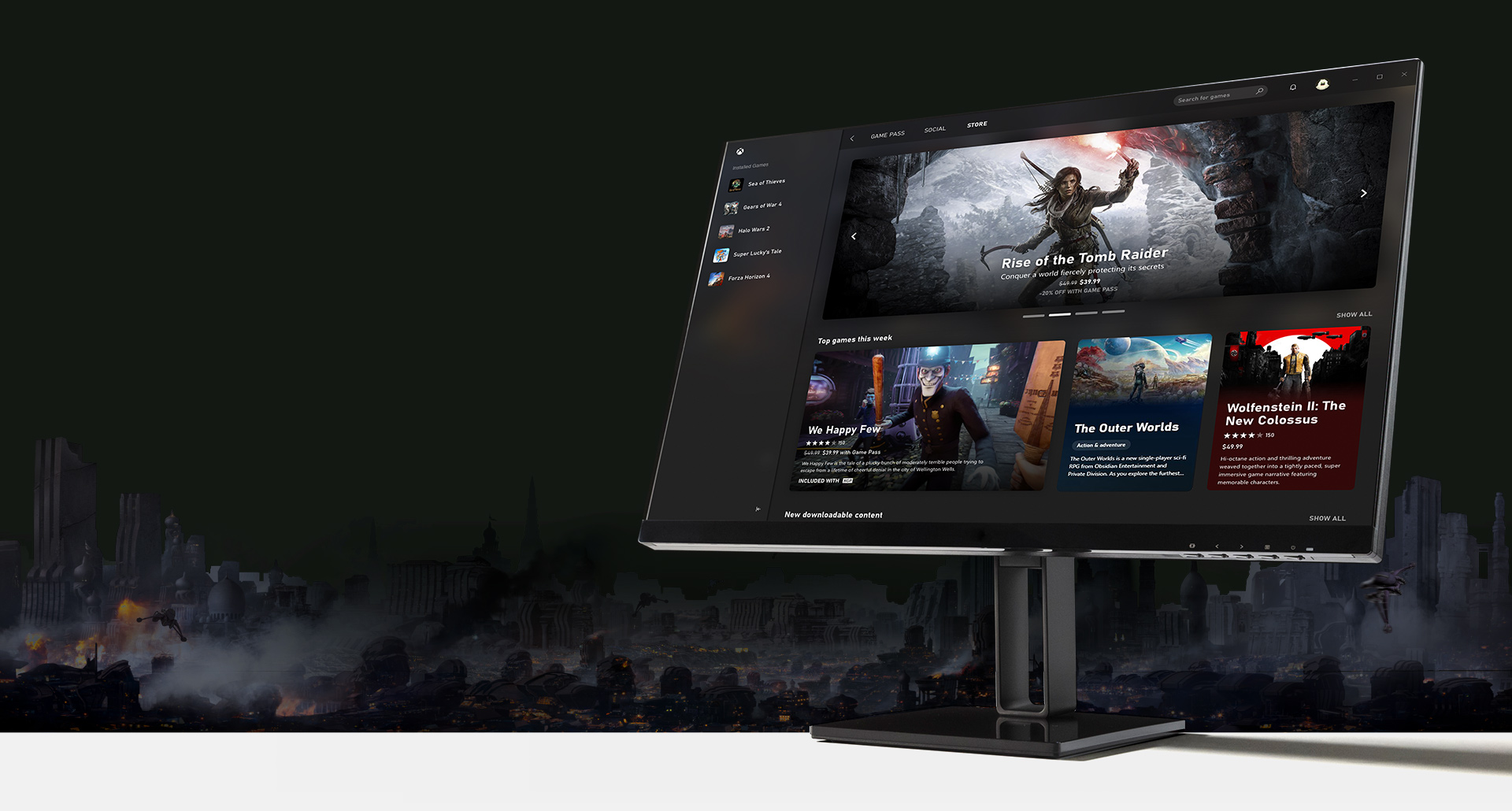 Computer monitor with Xbox Game Pass PC App UI displayed
