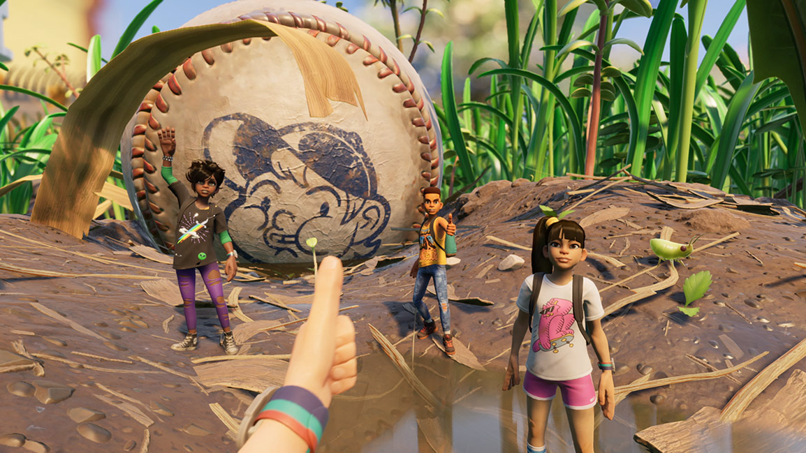 First person view of three other characters with a baseball in the background with grass