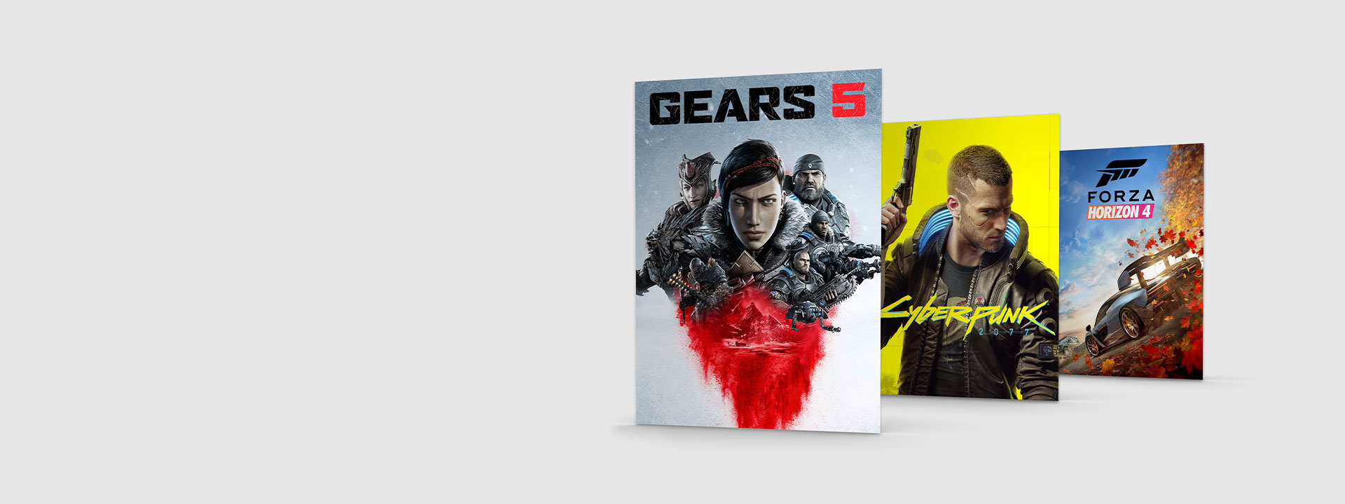 Boxshot of Gears 5, Cyberpunk and Forza Horizon 4