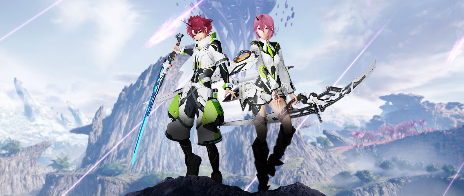 Two characters wearing white, green, and black with weapons in front of a rocky landscape