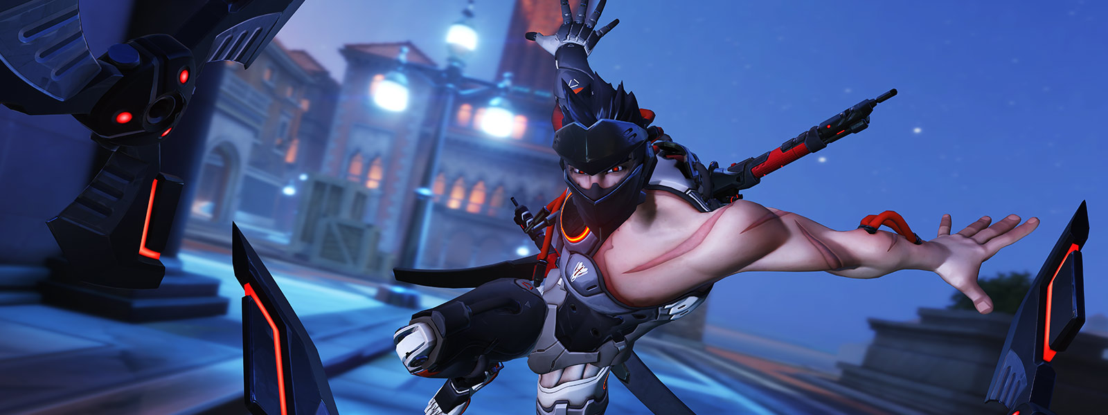 Front view of Retribution Genji throwing shurikens toward the camera