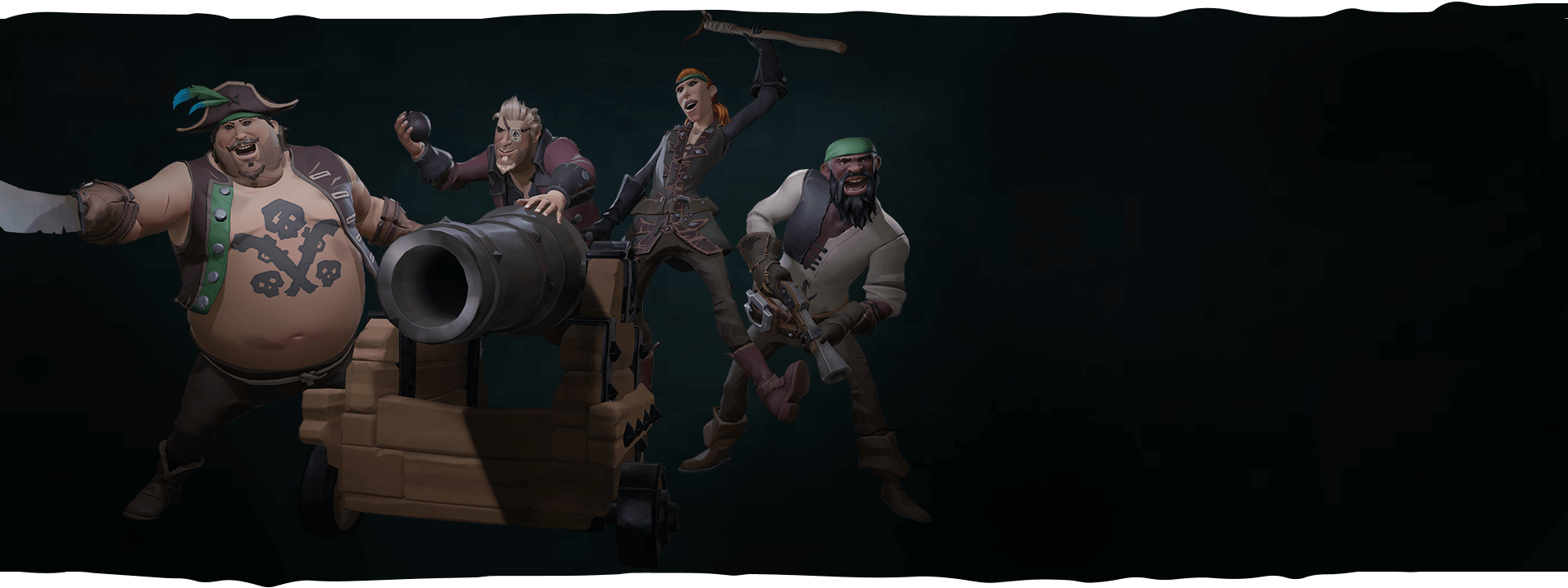 Four crew heroes wielding weapons posing around a cannon