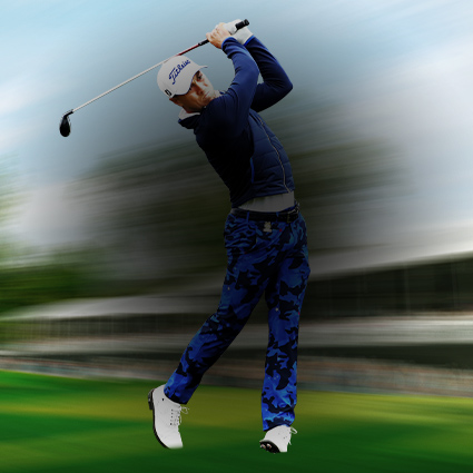 PGA 2K21, golfer Justin Thomas takes a big swing
