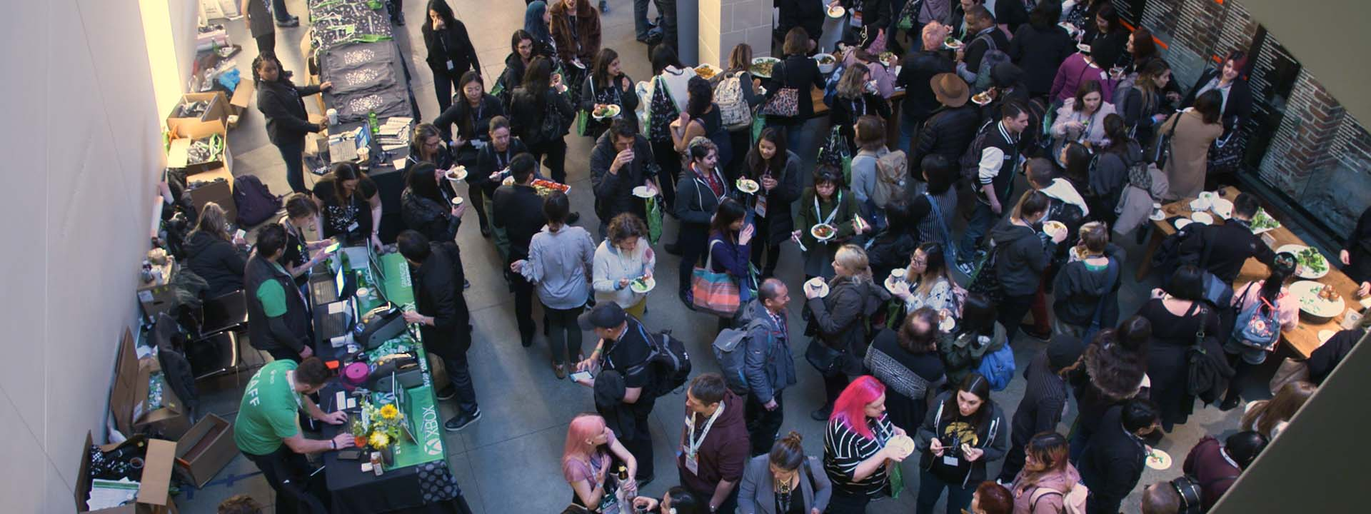 women from the gaming industry mingling during a reception