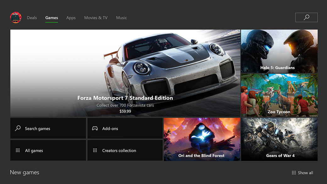 Xbox dashboard showing the games tab with Forza 7