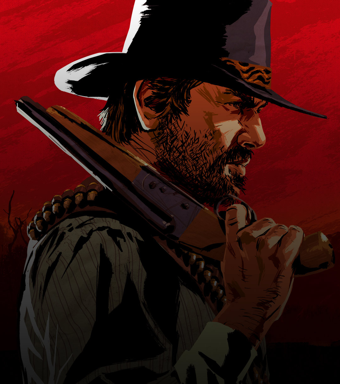 Arthur Stands In Profile While Holding A Sawed Off Shotgun Over His Shoulder
