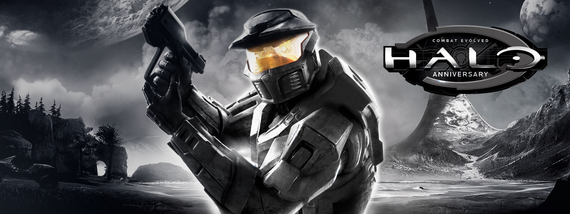 Halo Combat Evolved Anniversary, Master Chief points a gun against a black and white alien planet background