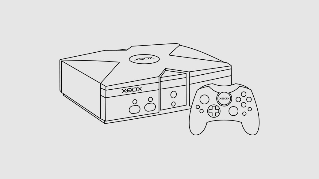 Illustration of the original Xbox console