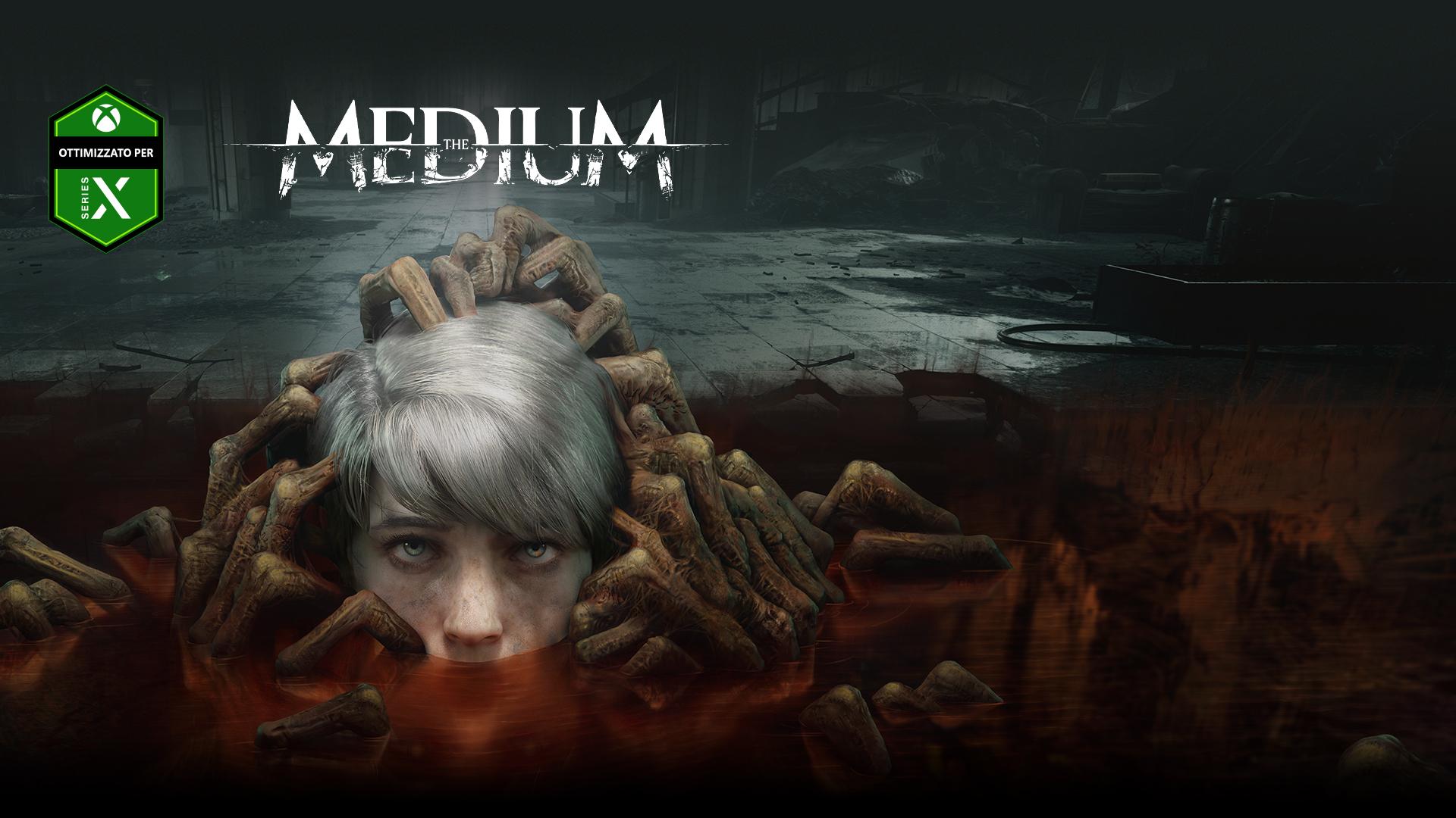 The Medium, ottimizzato per Xbox Series X, la testa di un bambino emerge da una pozza popolata da mani di non morti.