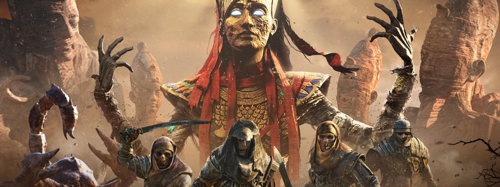 En vandød hær står foran en vandød Farao med armene løftet opp