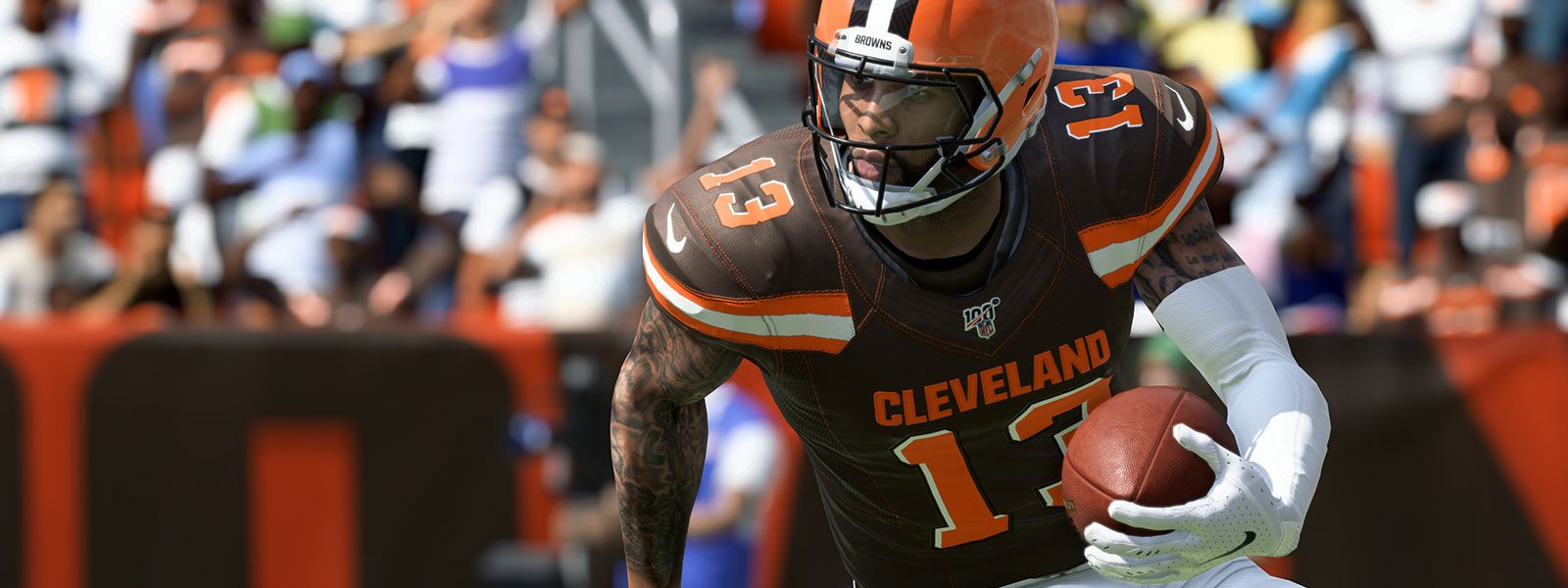 Cleveland Browns-speler Odell Beckham Jr. met football