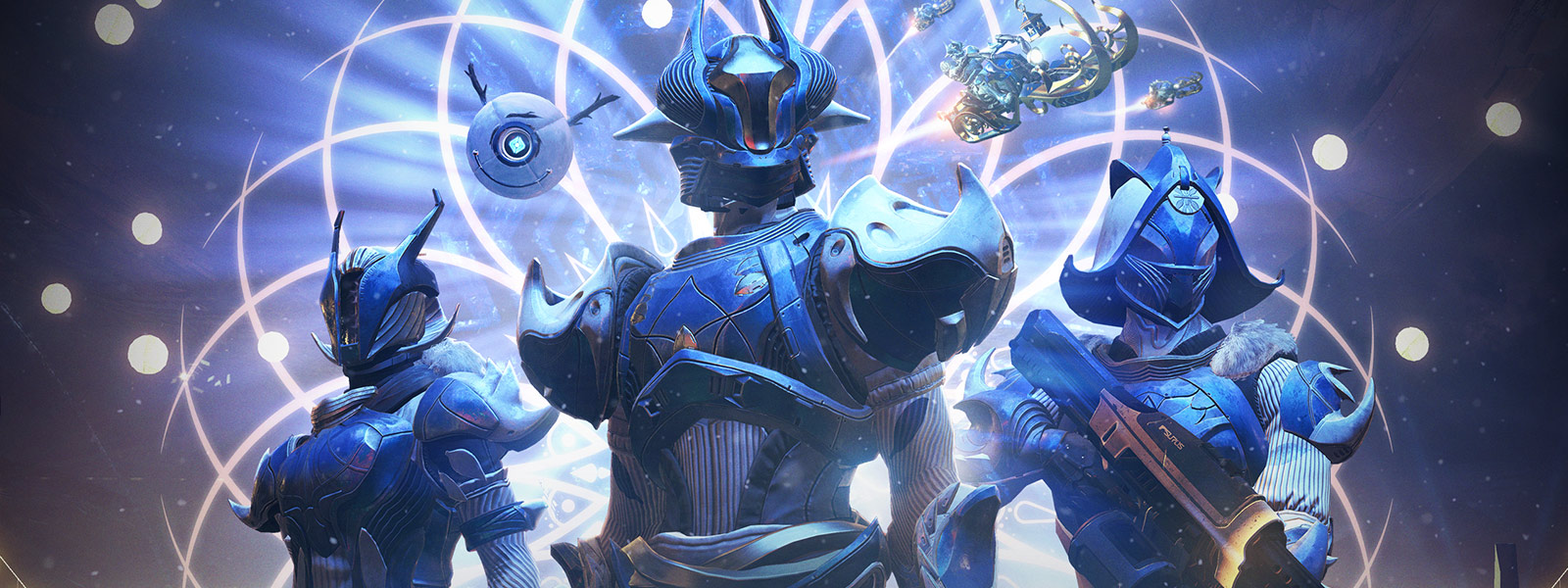 Front view of 3 guardians in blue winter themed armor