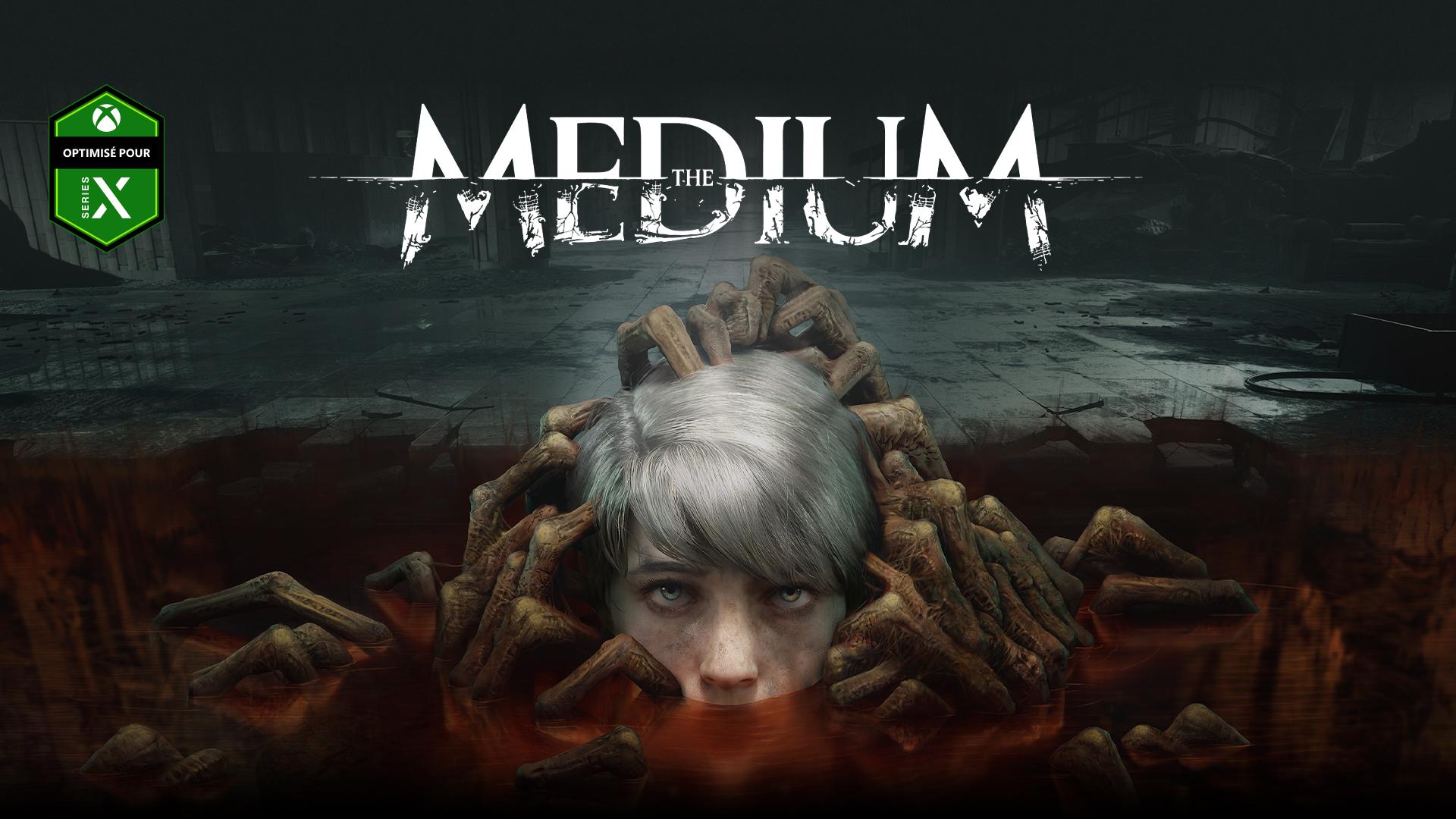 The Medium, optimisé pour XboxSeriesX - La tête d'un enfant s'élève d'une flaque d'où émergent des mains de morts-vivants.