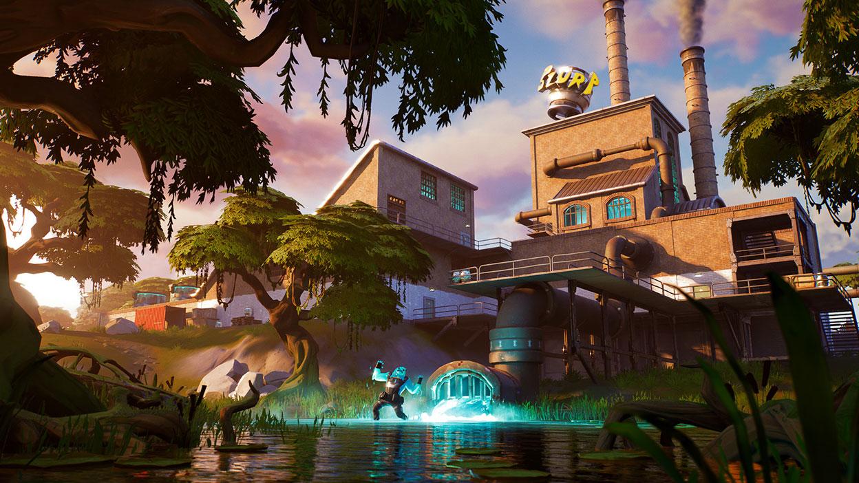 Um slime-man brilhante grita em um pântano com uma fábrica ao fundo