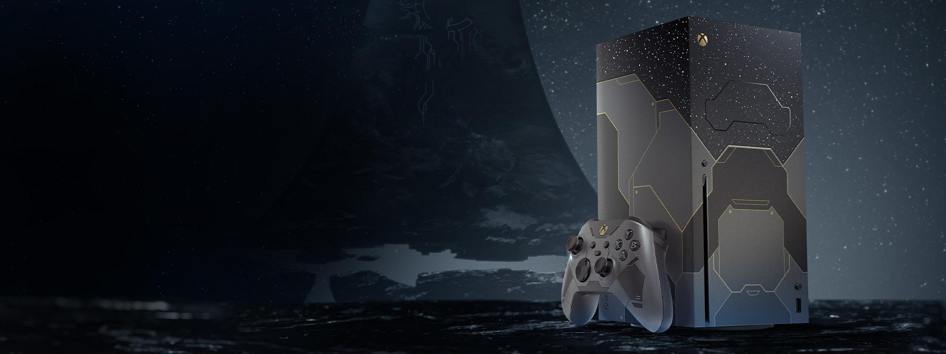 Angle de droite de la console Xbox SeriesX Halo Infinite et de la manette avec l'anneau de Halo en arrière-plan