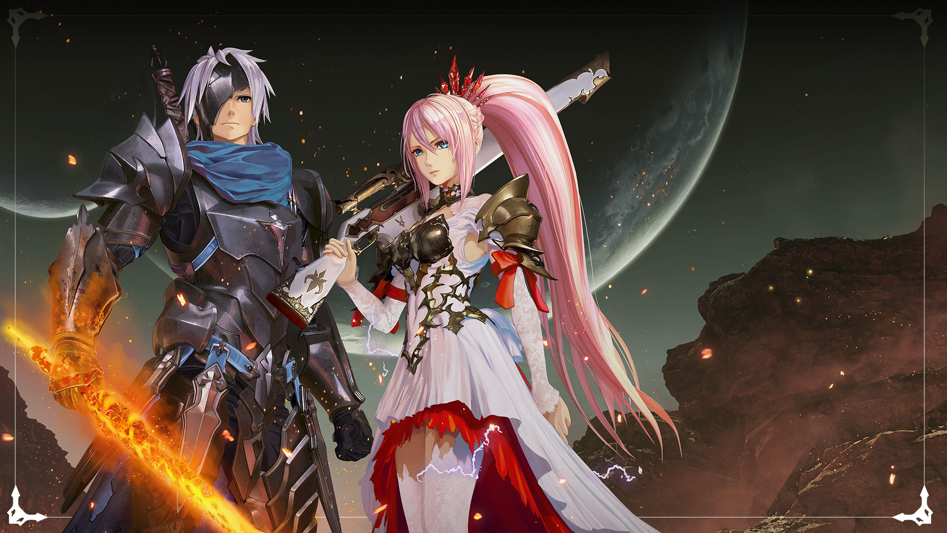 Alphen and Shionne pose with weapons under a full and large moon.