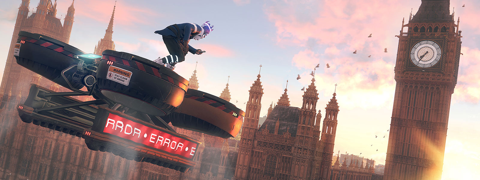 Character on a large drone flying towards Big Ben