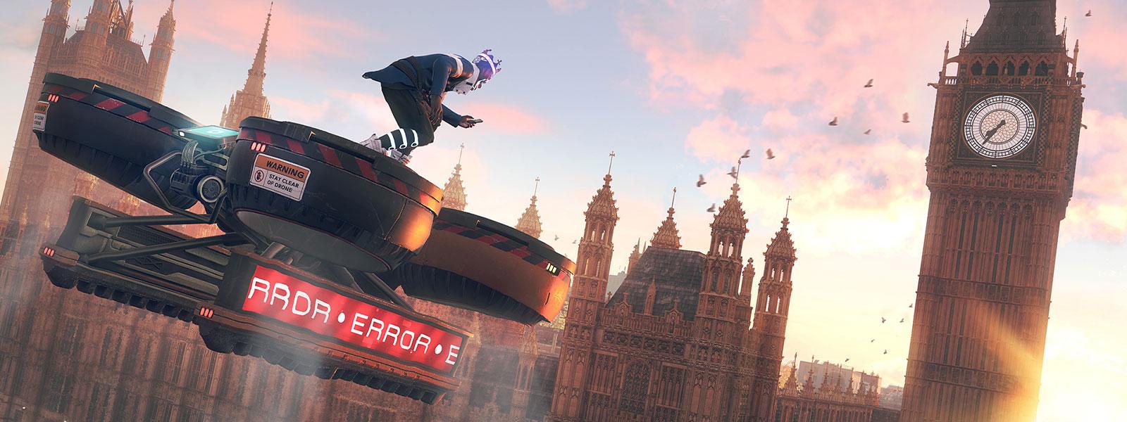 Big Ben'e doğru uçan büyük bir dronun üzerinde karakter