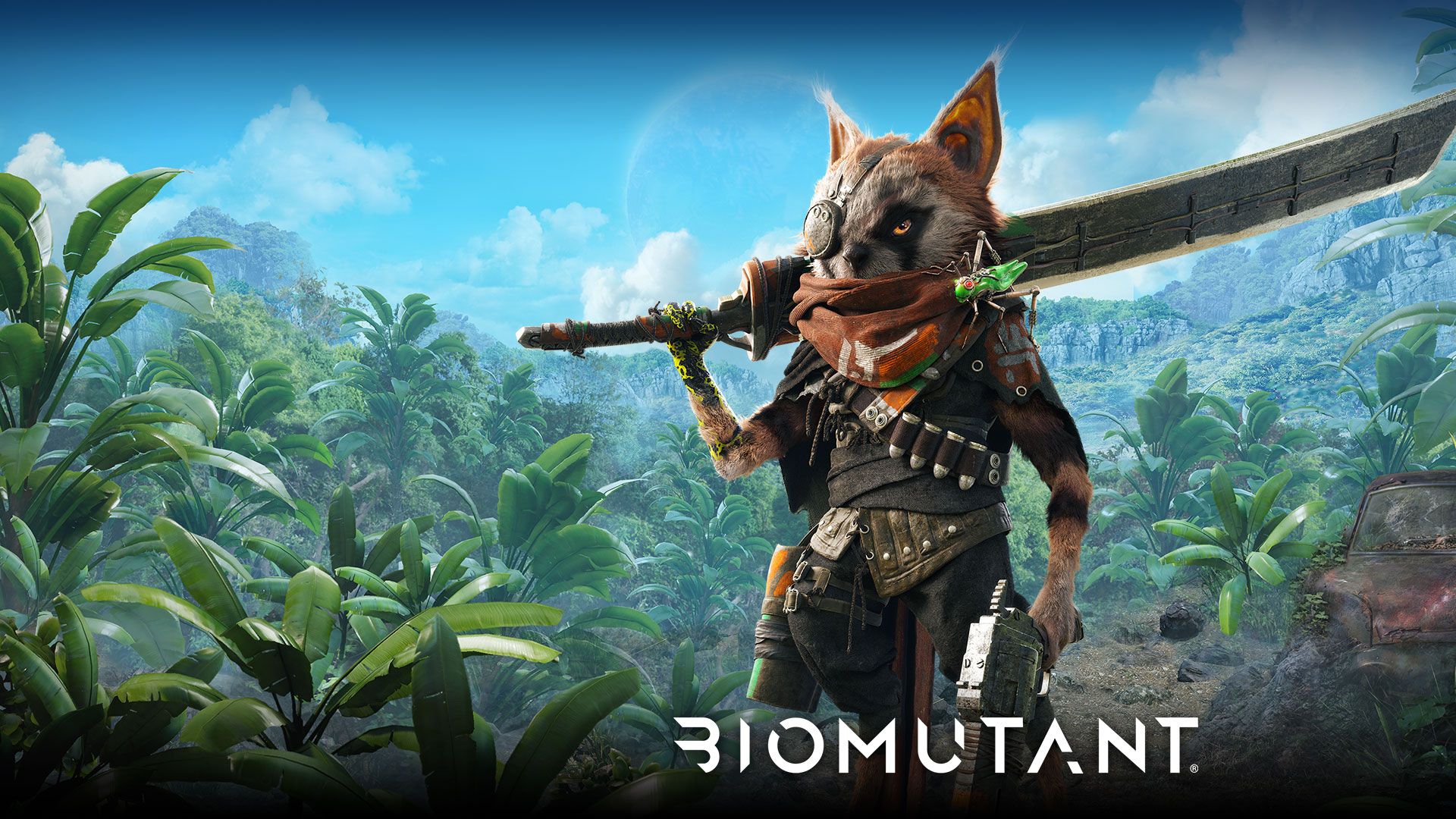 Biomutant, A mutated raccoon creature stands in a jungle with a large sword and gun.