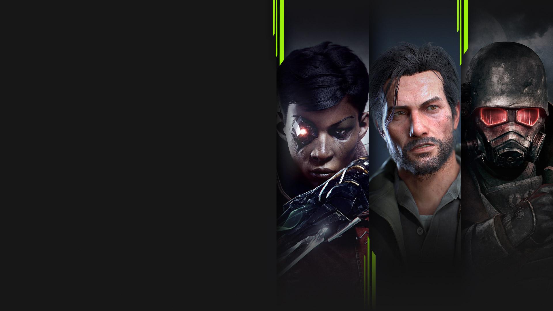 可在電腦上遊玩的多款 Xbox Game Pass 遊戲的畫面,包括 Dishonored: Death of the Outsider、The Evil Within 2、Fallout: New Vegas 和《浣熊硬探》。