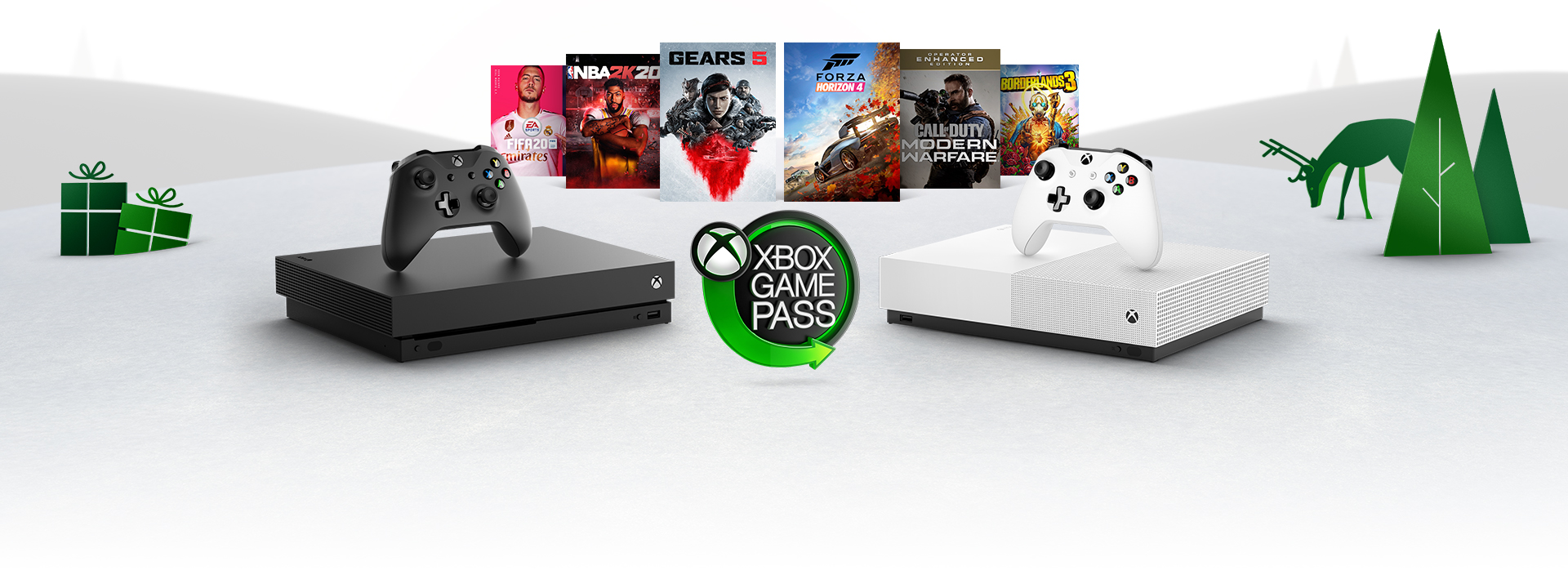 Various Xbox products on a festive background. The lockup includes a black Xbox One X, white Xbox One S, as well as packshots of Forza Horizon 4, The Outer Worlds, Gears 5 and Borderlands 3. All the products surround the Xbox Game Pass logo.